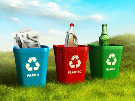 Photo pour Poubelles colorées utilisées pour recycler le papier, le plastique et le verre. Illustration numérique . - image libre de droit