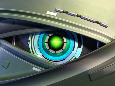 Photo for Close-up on a robotic eye. Digital illustration. - Royalty Free Image