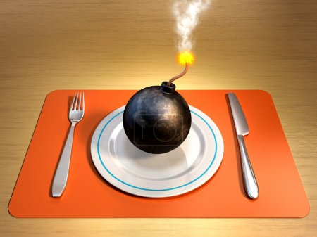 A lit bomb on a plate with fork and knife at its s...