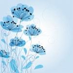 Blue Romantic Flower Background...