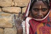 Egy indiai radzsasztáni nő portréja