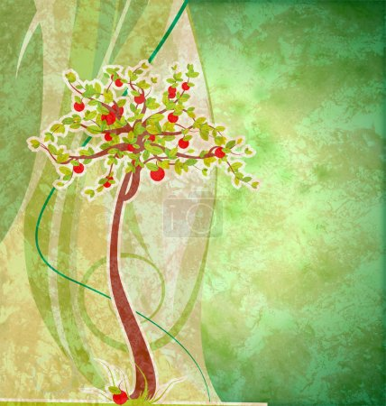 Grunge green textured background with red apple tree green and y