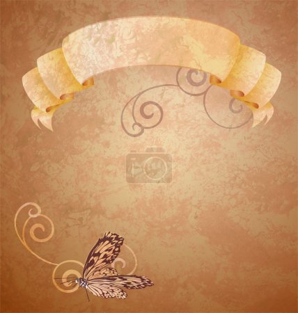 Brown grunge paper with beige scroll and butterfly with curves
