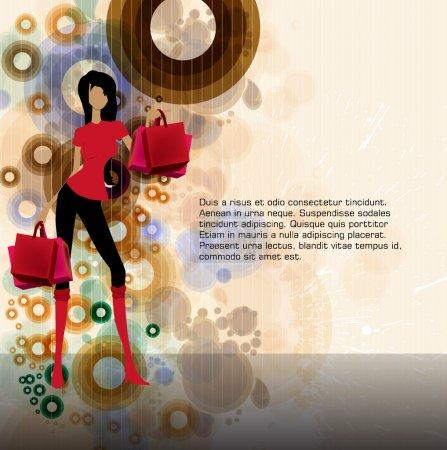 Illustration for Shopping girls - Royalty Free Image