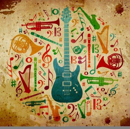 Photo pour Silhouette instruments de musique multicolores en forme de cercle. fond Vintage - image libre de droit
