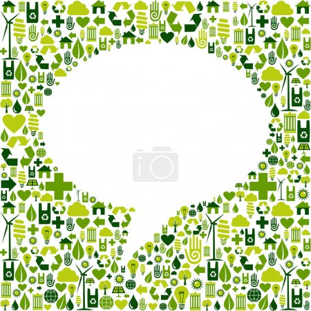 Social media bubble shape with eco icons background