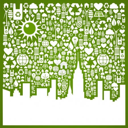 Illustration for Green icons set in city silhouette background. Vector file available. - Royalty Free Image