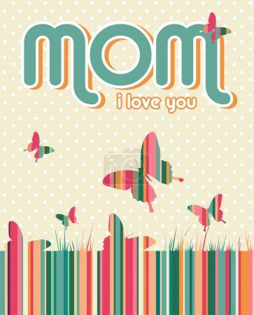 Photo pour Je t'aime maman écrit sur fond beige avec des points blancs et des papillons. Fille vectorielle superposée pour une manipulation facile et une coloration personnalisée. - image libre de droit