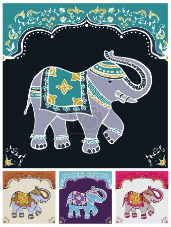 Illustration pour Éléphant indien traditionnel décoré pour une occasion spéciale ensemble de fond. Fichier vectoriel disponible . - image libre de droit