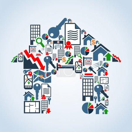 Illustration pour Immobilier icône mis en maison silhouette arrière-plan illustration. Fichier vectoriel stratifié pour une manipulation facile et une coloration personnalisée. - image libre de droit