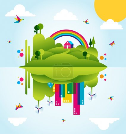 Happy green city spring time concept illustration