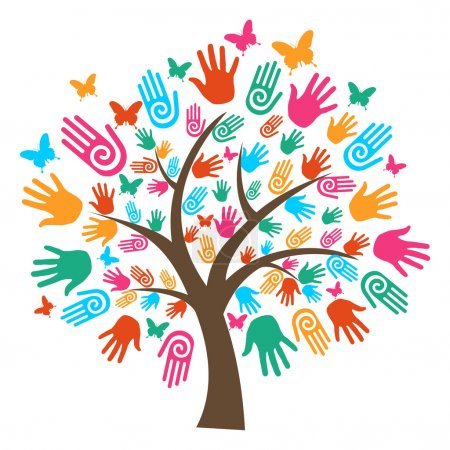 Illustration for Isolated diversity tree hands illustration. Vector file layered for easy manipulation and custom coloring. - Royalty Free Image