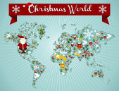 Christmas icon set in globe world map background Vector file available