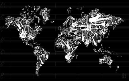 Illustration pour Globe Carte du monde silhouette réalisée avec des instruments de musique icône mis en arrière-plan noir. Fichier vectoriel disponible - image libre de droit