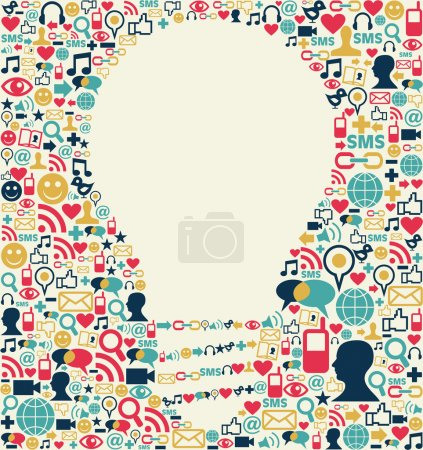 Illustration for Social media icons texture with lamp shape composition background. - Royalty Free Image