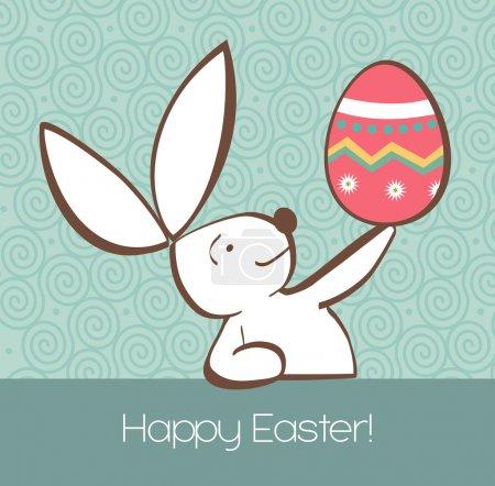 Photo pour Un lapin de Pâques avec oeuf de Pâques peint à la main sur fond vert pastel. Fichier vectoriel stratifié pour une manipulation facile et une coloration personnalisée . - image libre de droit