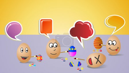 Illustration for Funny illustration about happy painters eggs for Easter with colorful social dialogue bubble. Vector file layered for easy manipulation and customisation. - Royalty Free Image