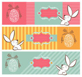 Tribal egg and Easter bunny banners set