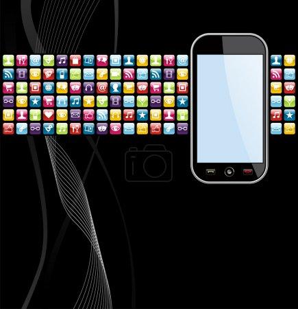 Illustration pour Icônes application Smartphone sur fond noir. Fichier vectoriel stratifié pour faciliter la manipulation et la personnalisation. - image libre de droit
