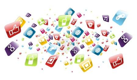 Photo pour Icônes application iPhone exploitation sur fond blanc. Fichier vectoriel stratifié pour faciliter la manipulation et la personnalisation . - image libre de droit