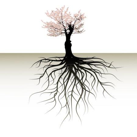 Illustration pour Arbre en fleurs avec un espace pour un texte - image libre de droit