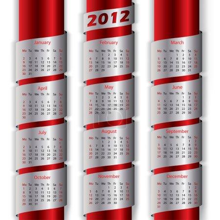 2012 calendar with metallic ribbons