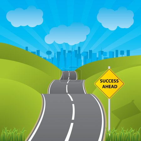 Illustration for Road to success to a city with skyscrapers - Royalty Free Image