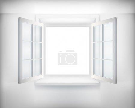 Illustration for Opened white window. Vector illustration. - Royalty Free Image