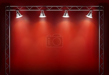 Illustration for Empty exposition and lamps. Vector illustration. - Royalty Free Image