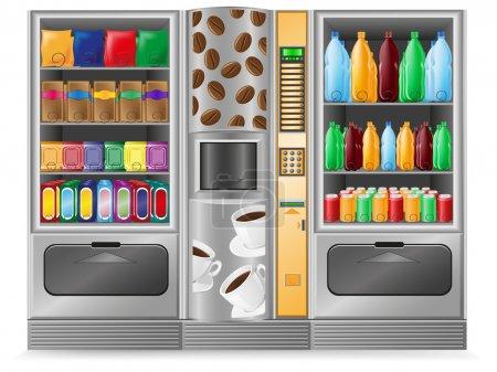 Illustration pour Distributeur de café snack et l'eau est une illustration vectorielle de la machine - image libre de droit