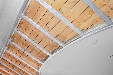 Suspended ceiling in the stage of construction