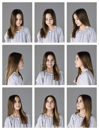 Photo for Collage of 9 portraits of a young girl on grey background - Royalty Free Image