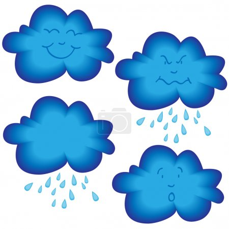 Illustration for Collection of funny cartoon blue cloud with different faces, happy, mad, surprised and blank with or without rain - Royalty Free Image