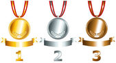 Gold silver and bronze games related set