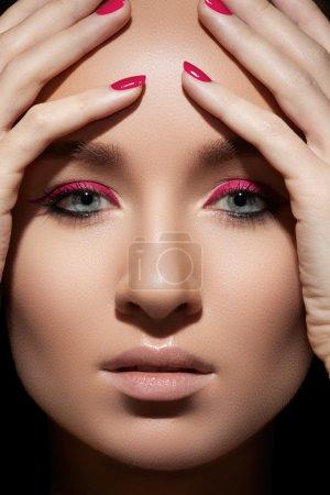 Beautiful close-up portrait of fashion woman model...