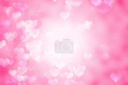 Photo pour Beau Résumé historique romantique rose avec coeurs - image libre de droit