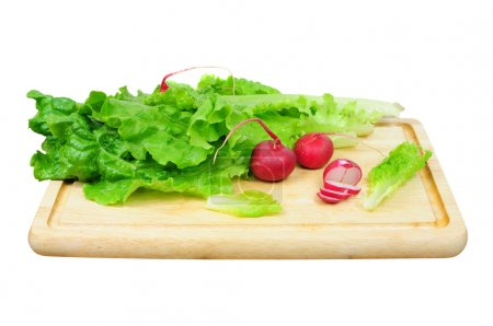 Photo for Radish and lettuce leaf on wooden board, isolated - Royalty Free Image