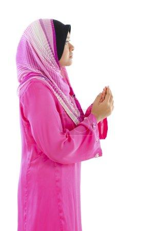 Photo pour Prière musulmane sur fond blanc - image libre de droit