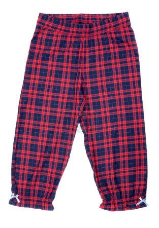 Photo pour Le pantalon de pyjama carreaux rouge isolé sur blanc - image libre de droit