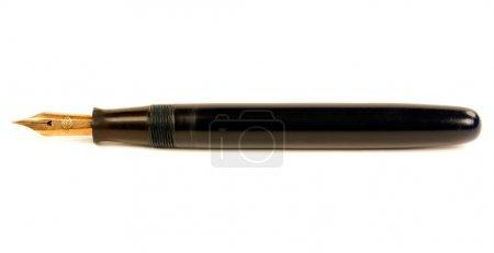 Photo pour Le vieux stylo avec plume d'or isolé sur fond blanc - image libre de droit