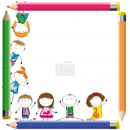Illustration for Frame with happy kids and colorful crayons - Royalty Free Image