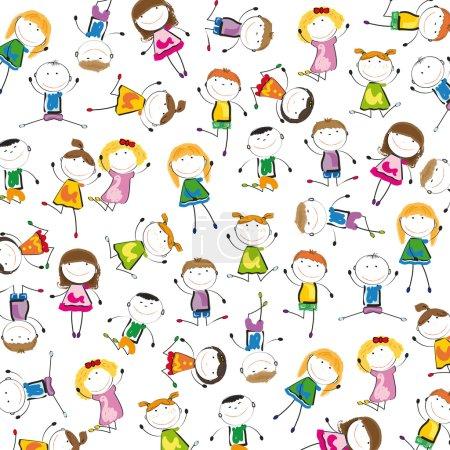 Illustration pour Petite et le sourire des enfants jouant et dansant - image libre de droit