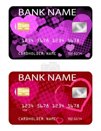 Credit cards, Valentine's day theme