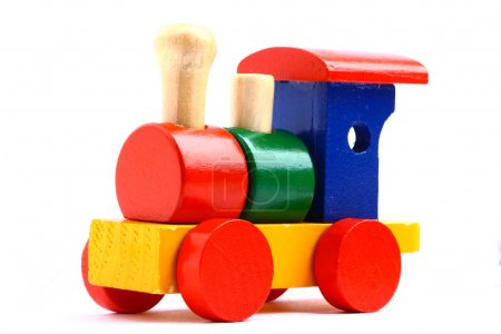 Photo for Colorful wooden toy train isolated on white background - Royalty Free Image