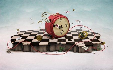 Foto de Podio con rojo antiguo reloj, tarjetas de vuela, cuerda, fondos de pantalla de foto. gráficos por ordenador. - Imagen libre de derechos