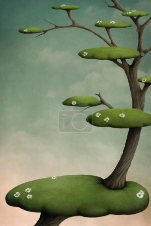 Tree with green islands