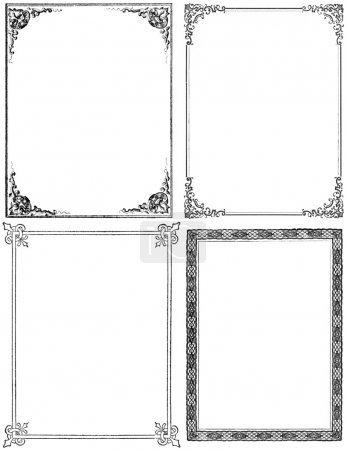 Photo for Collection of four moderately distressed fancy frames from the nineteenth century. Black isolated on white. Each approximately 9x7 inches. - Royalty Free Image