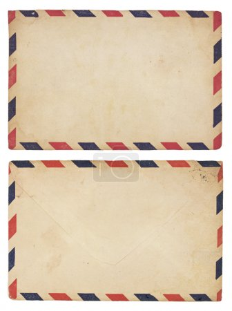 Photo for The front and back of an aging airmail envelope with red and blue striped border. Isolated on white with clipping path. - Royalty Free Image