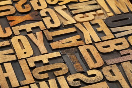 Antique wood alphabet abstract