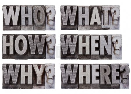 Photo for Brainstorming or decision making questions - who, what, where, when, why, how - a collage of isolated words in vintage , grunge, metal letterpress printing bloc - Royalty Free Image